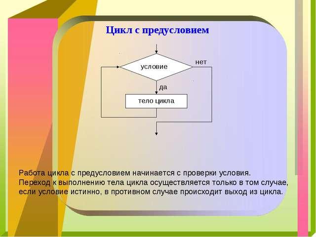 Цикл с предусловием Работа цикла с предусловием начинается с проверки условия...