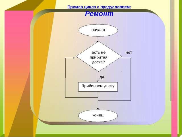Пример цикла с предусловием: Ремонт