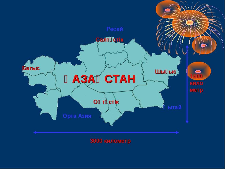 Солтүстік Батыс Оңтүстік Шығыс 3000 километр 1600 километр ҚАЗАҚСТАН Ресей Қы...