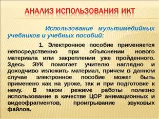 Использование мультимедийных учебников и учебных пособий: 1. Электронное пос