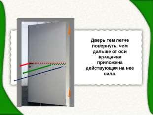 Дверь тем легче повернуть, чем дальше от оси вращения приложена действующая н