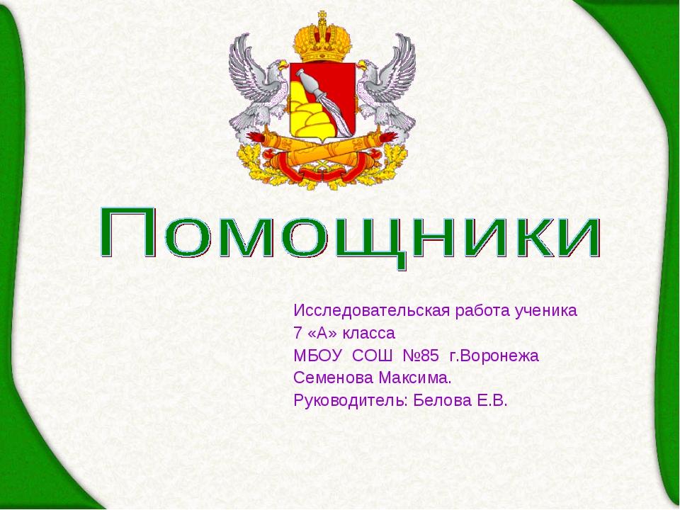 Исследовательская работа ученика 7 «А» класса МБОУ СОШ №85 г.Воронежа Семенов...