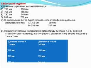 2.Выполни задание А)Покажите стрелками направление ветра: А) 760 мм 750 мм Б)