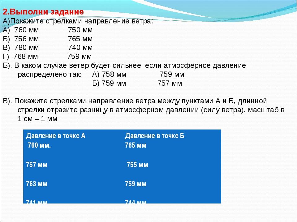 2.Выполни задание А)Покажите стрелками направление ветра: А) 760 мм 750 мм Б)...