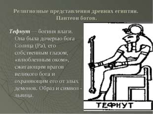 Религиозные представления древних египтян. Пантеон богов. Тефнут — богиня вла