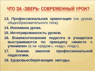 13. Профессиональная ориентация (на уроках общеобразовательного типа). 14. Из
