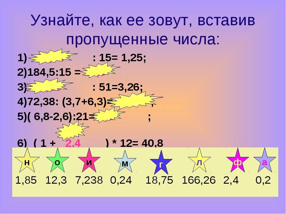 Узнайте, как ее зовут, вставив пропущенные числа: 1) 18,75 : 15= 1,25; 2)184...