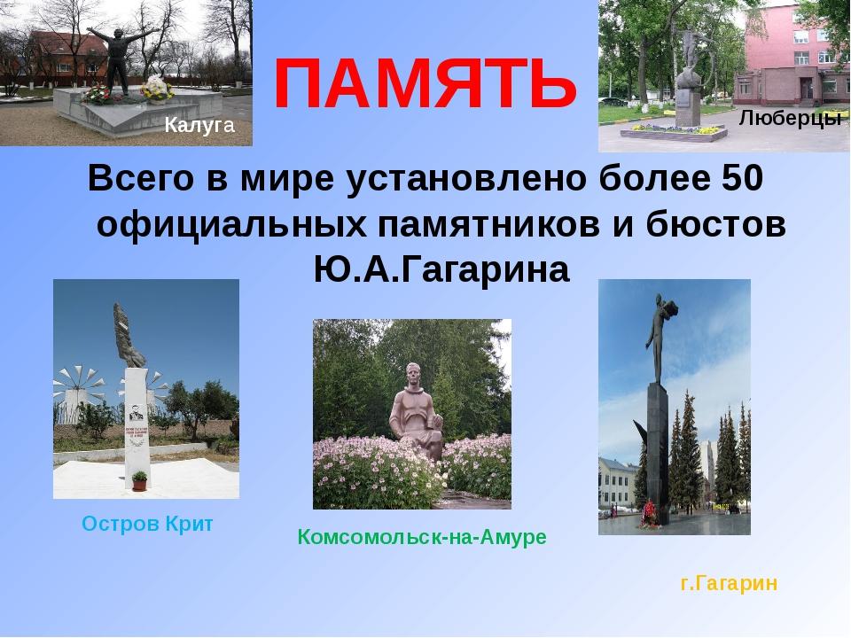 ПАМЯТЬ Всего в мире установлено более 50 официальных памятников и бюстов Ю.А....