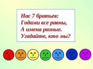 Нас 7 братьев: Годами все равны, А имена разные. Угадайте, кто мы?