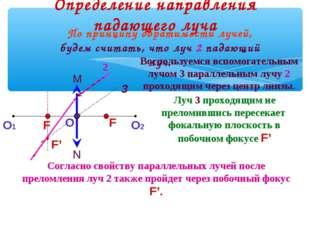Определение направления падающего луча 3 2 Луч 3 проходящим не преломившись п