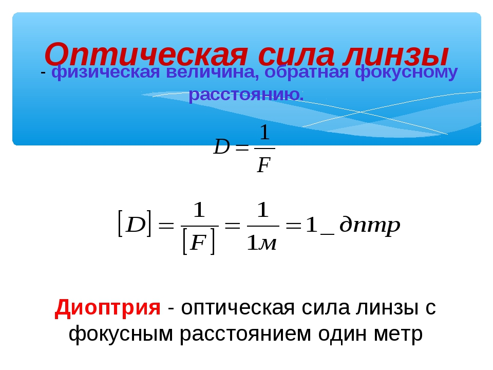 Оптическая сила линзы - физическая величина, обратная фокусному расстоянию. Д...