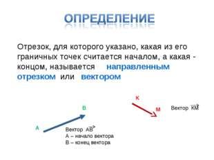 Отрезок, для которого указано, какая из его граничных точек считается началом