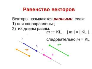 Равенство векторов Векторы называются равными, если: 1) они сонаправлены ; 2)