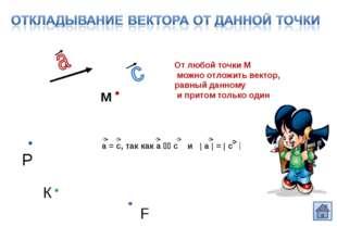 От любой точки М можно отложить вектор, равный данному и притом только один а