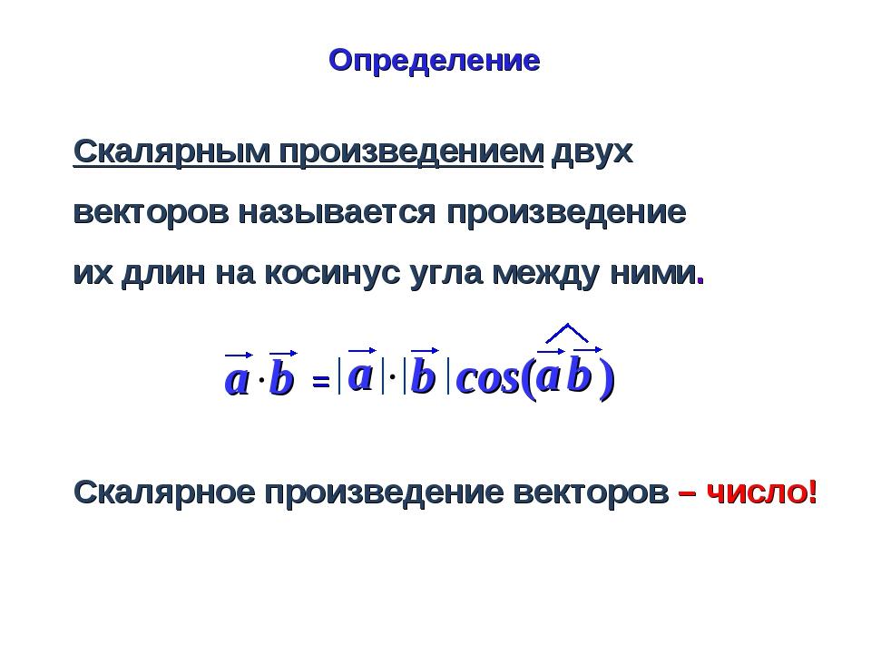 Скалярное произведение векторов – число! Скалярным произведением двух векторо...