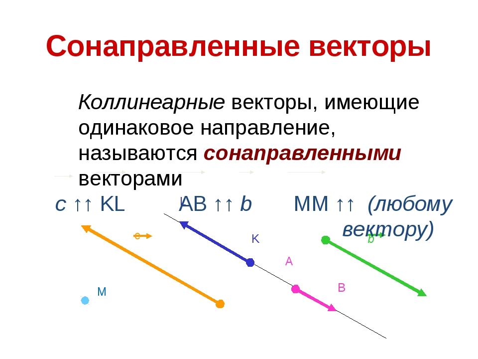 Сонаправленные векторы Коллинеарные векторы, имеющие одинаковое направление,...