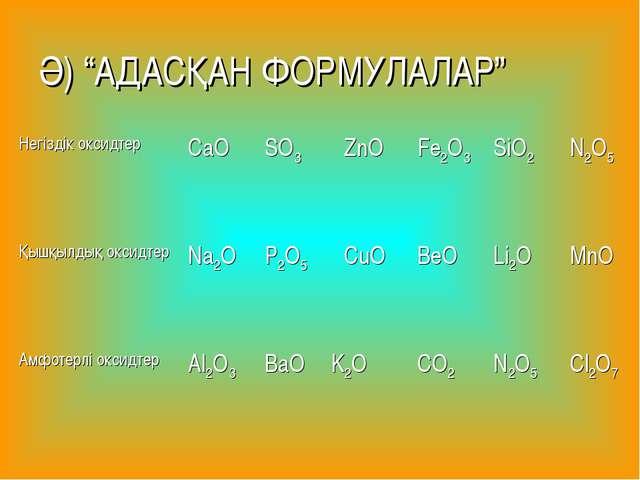 """Ә) """"АДАСҚАН ФОРМУЛАЛАР"""" Негіздік оксидтерCaOSO3ZnOFe2O3SiO2N2O5 Қышқылд..."""