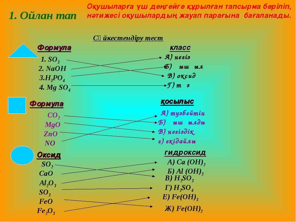 CO2 MgO ZnO NO А) түзбейтін Б) қышқылдық В) негіздік г) екідайлы Формула қосы...
