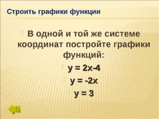 Строить графики функции В одной и той же системе координат постройте графики