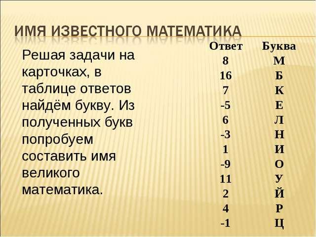 Решая задачи на карточках, в таблице ответов найдём букву. Из полученных букв...