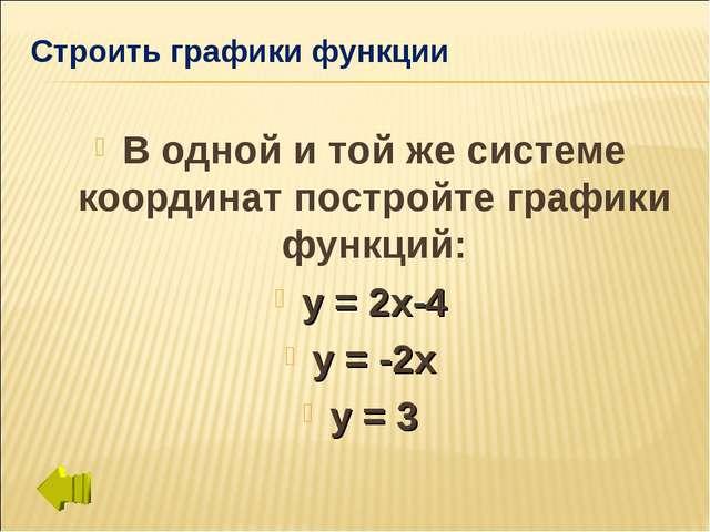 Строить графики функции В одной и той же системе координат постройте графики...