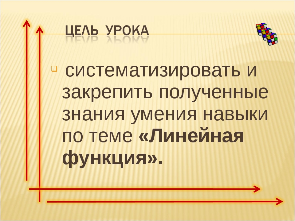 систематизировать и закрепить полученные знания умения навыки по теме «Линей...