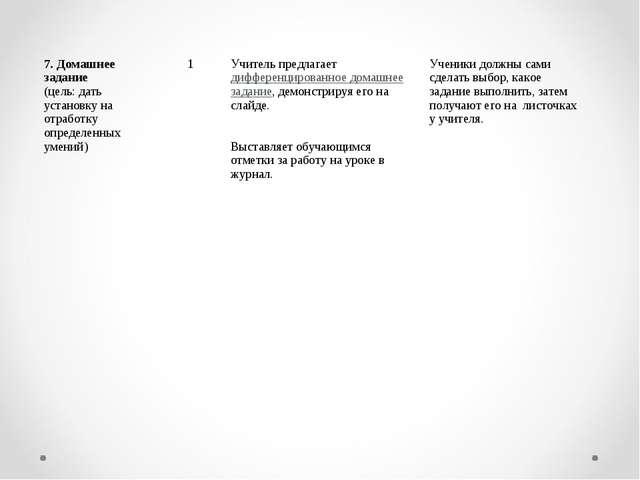 7. Домашнее задание (цель: дать установку на отработку определенных умений)...
