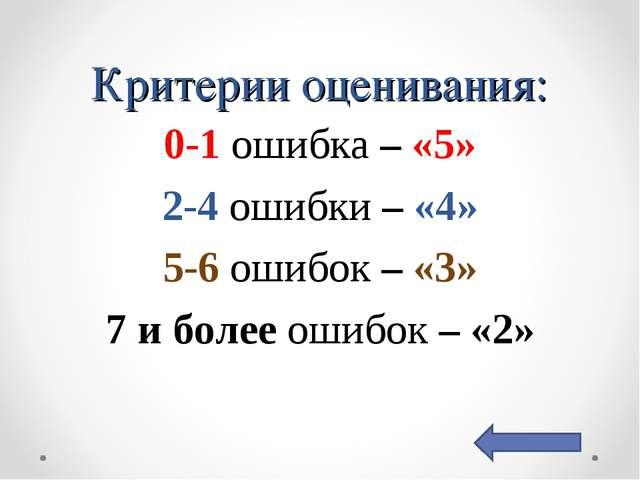 Критерии оценивания: 0-1 ошибка – «5» 2-4 ошибки – «4» 5-6 ошибок – «3» 7 и б...