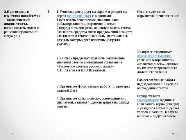 2.Подготовка к изучению новой темы – комплексный анализ текста. (цель: создат...