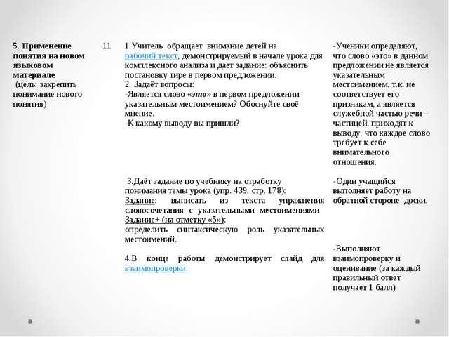 5. Применение понятия на новом языковом материале (цель: закрепить понимание...