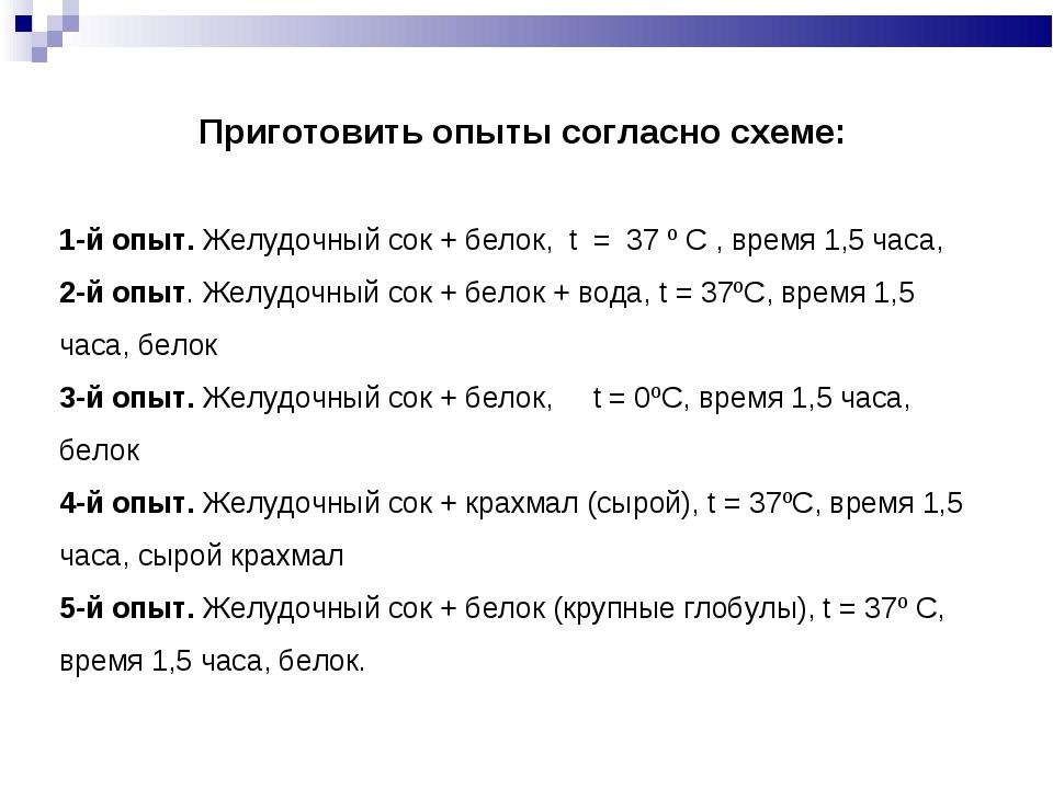 Приготовить опыты согласно схеме: 1-й опыт. Желудочный сок + белок, t = 37 º...