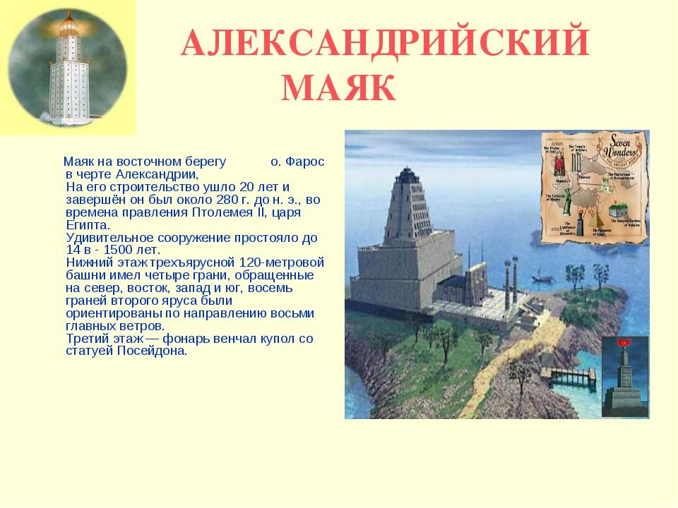 АЛЕКСАНДРИЙСКИЙ МАЯК Маяк на восточном берегу о. Фарос в черте Александрии,...
