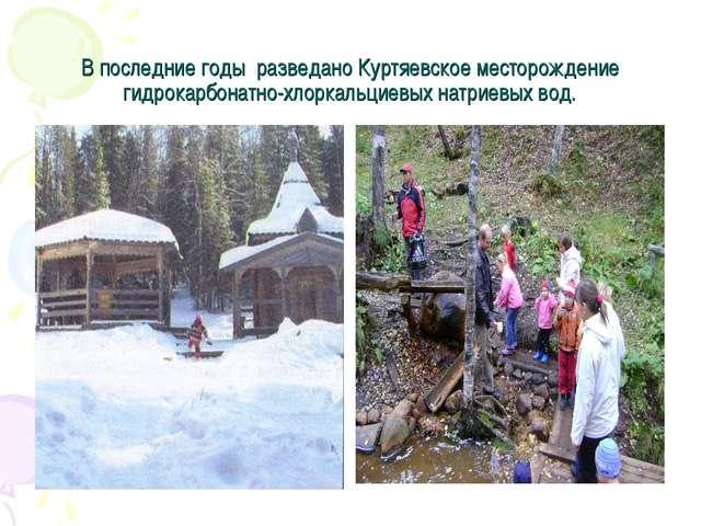 В последние годы разведано Куртяевское месторождение гидрокарбонатно-хлоркаль...