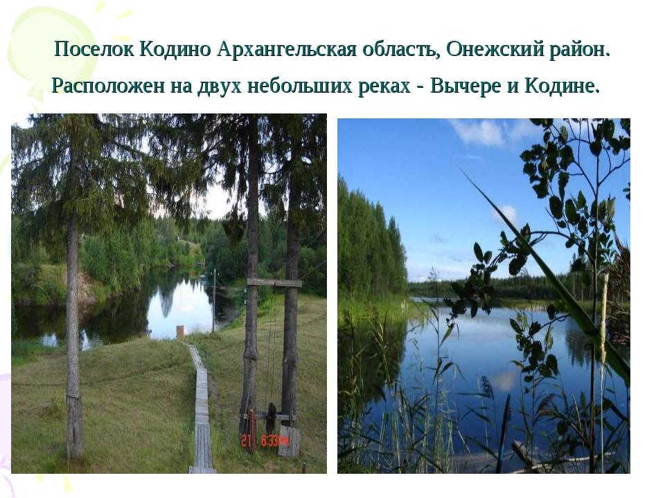 Поселок Кодино Архангельская область, Онежский район. Расположен на двух небо...