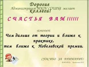 СПАСИБО ЗА ВНИМАНИЕ! 20.09.2012г Калинина Н.А. Администрация МКОУ СОШ№1 жела