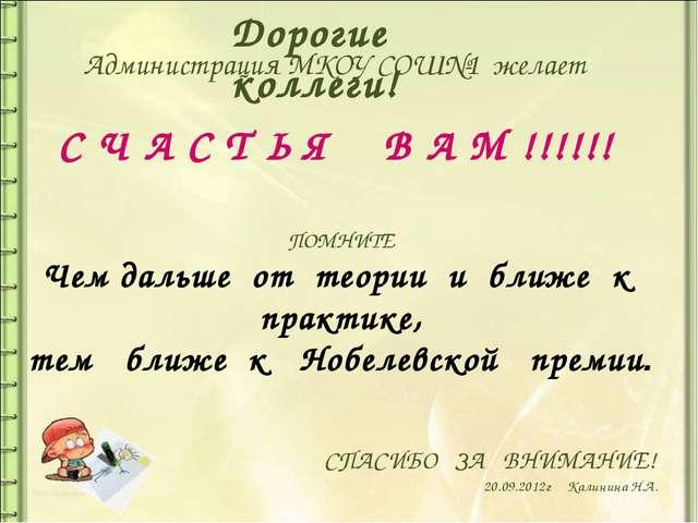 СПАСИБО ЗА ВНИМАНИЕ! 20.09.2012г Калинина Н.А. Администрация МКОУ СОШ№1 жела...