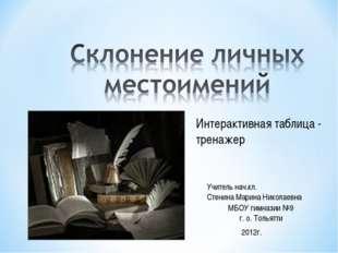 МБОУ гимназии №9 г. о. Тольятти Учитель нач.кл. Стенина Марина Николаевна 20
