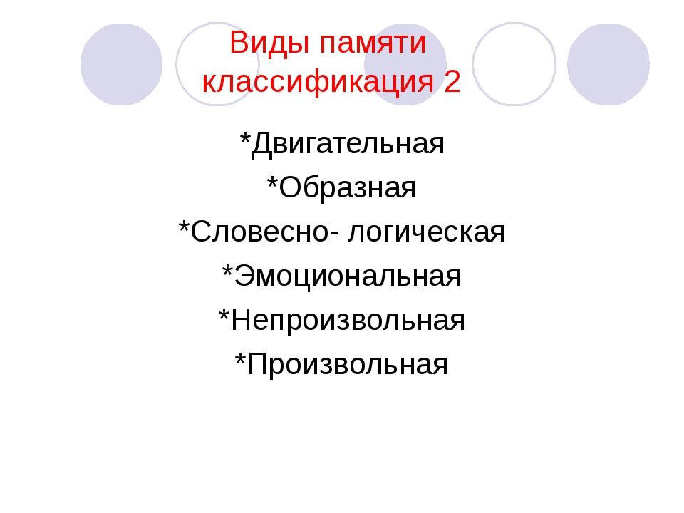 Виды памяти классификация 2 *Двигательная *Образная *Словесно- логическая *Э...
