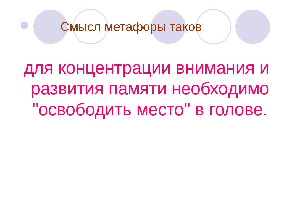Смысл метафоры таков: для концентрации внимания и развития памяти необходимо...
