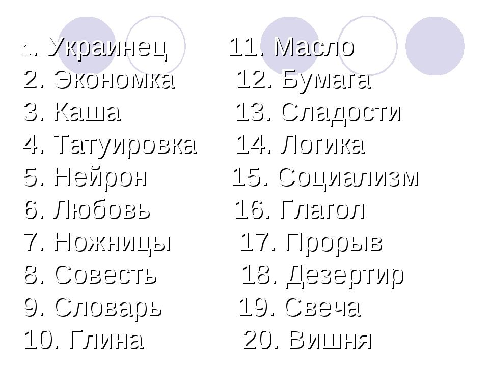 1. Украинец 11. Масло 2. Экономка 12. Бумага 3. Каша 13. Сладости 4. Та...