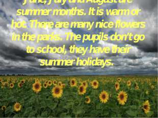 June, July and August are summer months. It is warm or hot. There are many ni