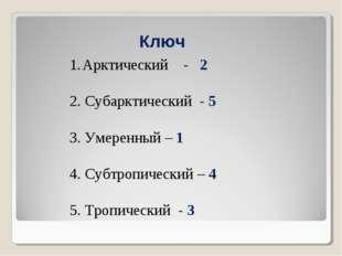 Ключ Арктический - 2 2. Субарктический - 5 3. Умеренный – 1 4. Субтропический