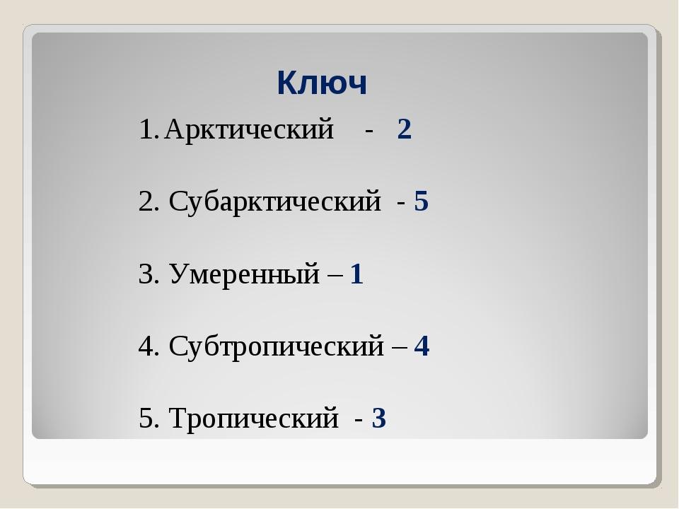 Ключ Арктический - 2 2. Субарктический - 5 3. Умеренный – 1 4. Субтропический...