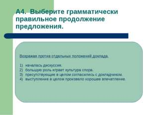 А4. Выберите грамматически правильное продолжение предложения. Возражая проти