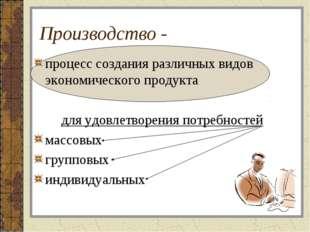 Производство - процесс создания различных видов экономического продукта для у