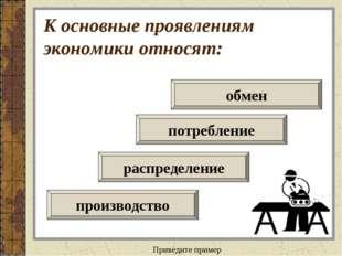 К основные проявлениям экономики относят: распределение потребление производс