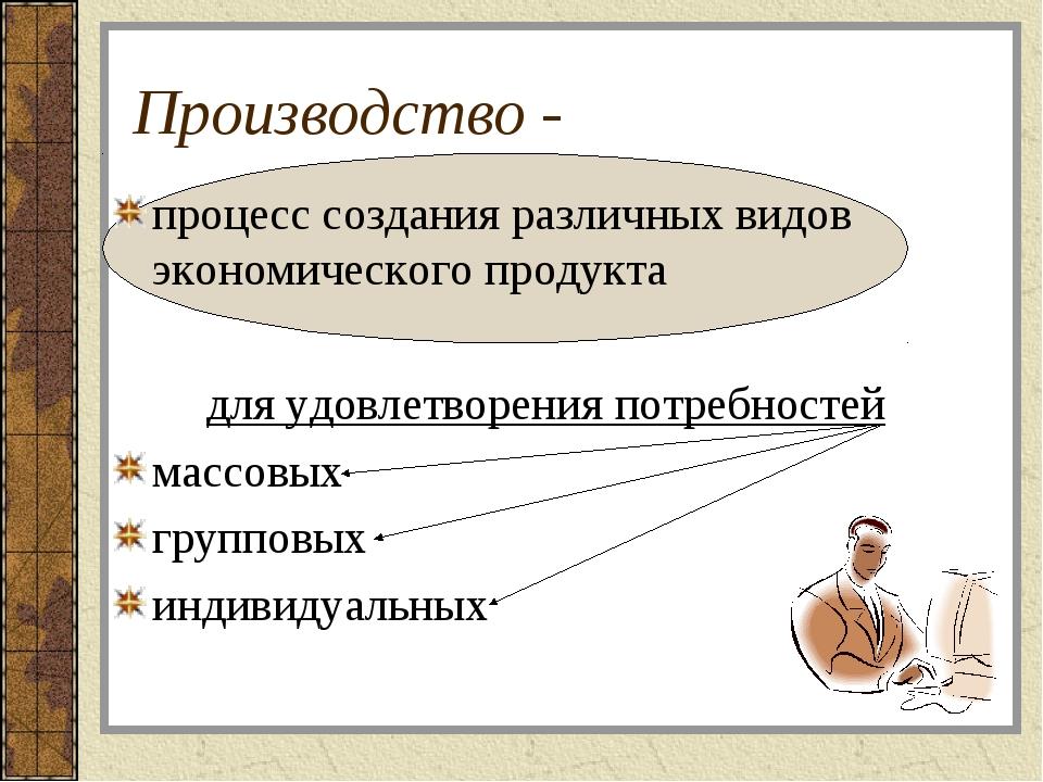 Производство - процесс создания различных видов экономического продукта для у...