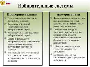 Избирательные системы Пропорциональная Голосование проводится по партийным с