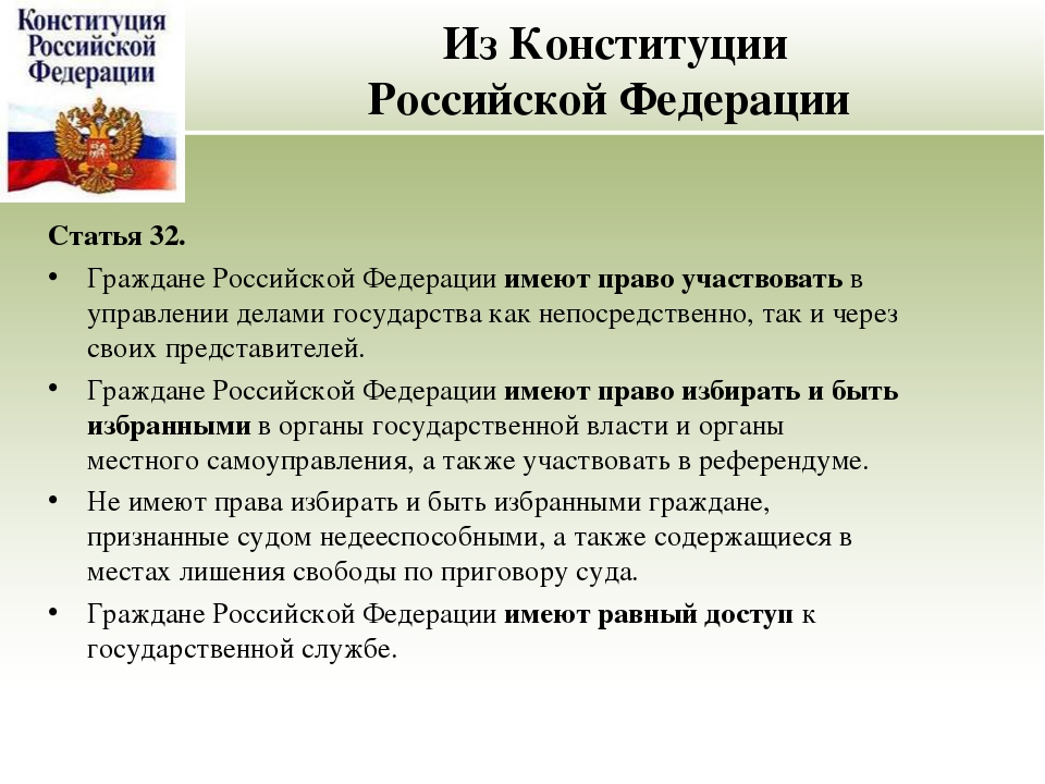 Из Конституции Российской Федерации Статья 32. Граждане Российской Федерации...