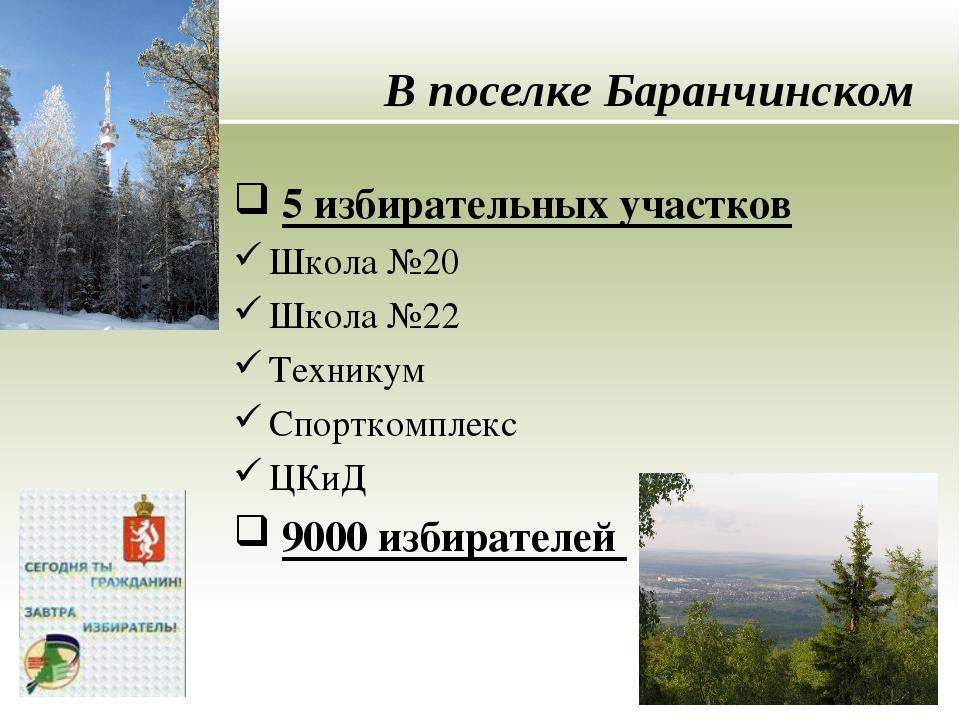 В поселке Баранчинском 5 избирательных участков Школа №20 Школа №22 Техникум...